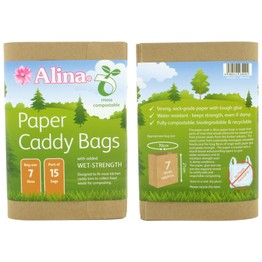 Alina Paper Caddy Bin Liners Compostable 7ltr