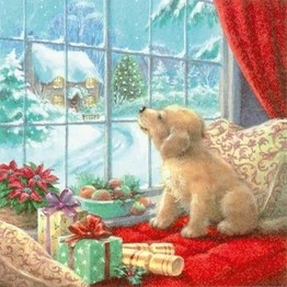 Christmas Napkins Puppy in Window pack of 20