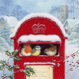 Christmas Napkins Birds in Snowy Postbox pack of 20