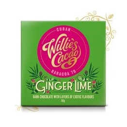 Willies Cacao Ginger Lime Dark Chocolate Bar 50g
