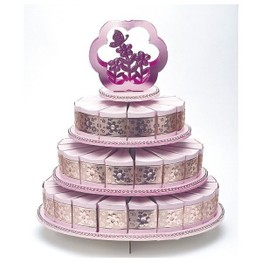 Card Cake 3-Tier Stand with 48 Heart Box Pink