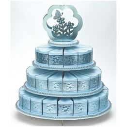 Card Cake 3-Tier Stand with 48 Heart Box Blue