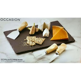 Cheese Board Set, Rectangular Slate with 3 Wooden Handle Knives