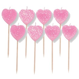 Candles Pink Hearts (10 candle picks)