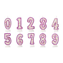 Numeral Birthday Cake Candle Purple