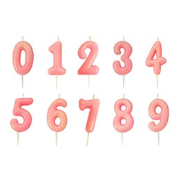 Numeral Moulded Pick Party Candles Pink