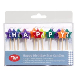 Tala 10312 Happy Birthday Coloured Star Candles