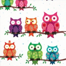 Tiflair Colourful Owls Lunch Napkins 3 ply