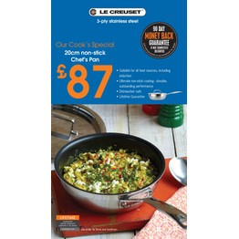 Le Creuset 3ply Stainless Steel 20cm Chefs Pan with Lid