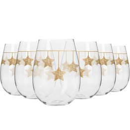 Krosno Lead Free Crystal Glass set of 6 Gold Star