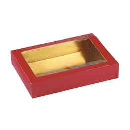 Cake Box Petit Four Red/Gold