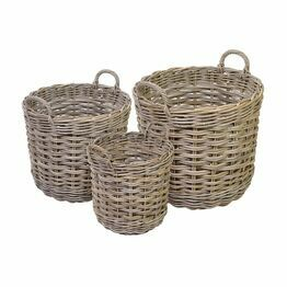 Round Rattan Log Basket Grey Kubu