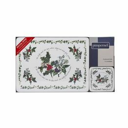 Pimpernel The Holly and The Ivy Placemat and Coaster Set of 6