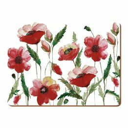 Creative Tops Watercolour Poppy Pack Of 6 Premium Tablemats or Coasters