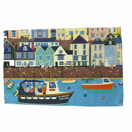 Picnic Boat Plymouth 100% Premium Cotton Tea Towel