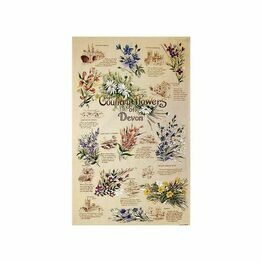 Country Flowers of Devon Tea Towel