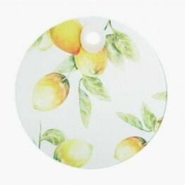Kitchen Craft Toughened Glass Round Worktop Protector - Lemon