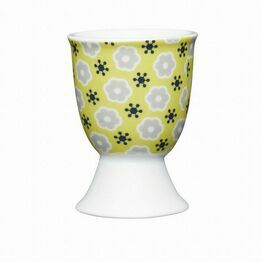 Kitchen Craft Floral Yellow Porcelain Egg Cup