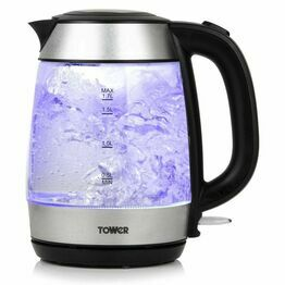 Tower 3KW 1.7L Rapid Boil Glass Kettle S/Steel T10040