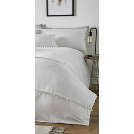 Paington White 100% Brushed Cotton Duvet Cover Set