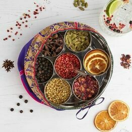 Gin Botanicals Tin with 7 botanicals and sari wrap