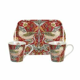 Morris and Co Strawberry Thief Red Mug and Tray Set