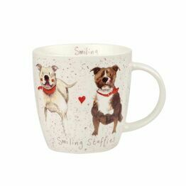 Alex Clark China Squash Mug Smiling Staffies ALCK10311