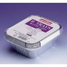Caroline Foil Trays and Lids (8pack) 16oz 1001