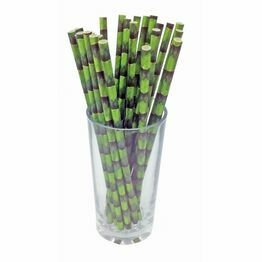Biodegradable Paper Straw bamboo print set of 24 C2090