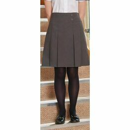 School Skirt 2 Button Inverted Pleat Grey