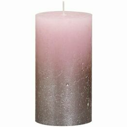 Bolsius Faded Metallic Pillar Candle Champagne/Pink 130mm