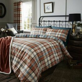 Catherine Lansfield Duvet Cover Set Kelso Country Check Spice Ki