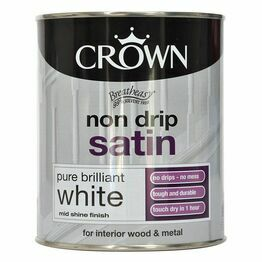 Crown Non Drip Satin White Paint 750ml