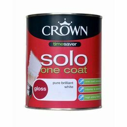 Crown Solo One Coat Gloss White Paint 750ml