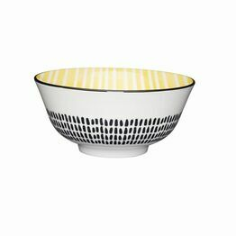 KitchenCraft Yellow Strips Moroccan Style Ceramic Bowl