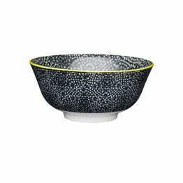 KitchenCraft Black & White Floral Ceramic Bowl