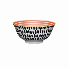 KitchenCraft Red Swirl Black Spots Ceramic Bowl