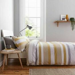 Catherine Lansfield Newquay Stripe Ochre Duvet Cover Set