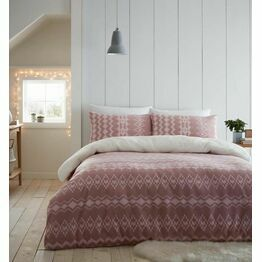 Catherine Lansfield Duvet Cover Set Alpine Fleece Blush