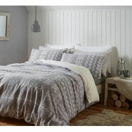 Catherine Lansfield Duvet Cover Set Alpine Fleece Grey