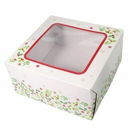 Christmas Cake Box Holly Design 10inch