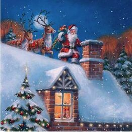 Christmas Napkins Santa Sleigh on Roof pack of 20