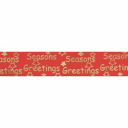 Christmas Ribbon Seasons Greetings 32mm wide