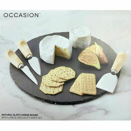 Cheese Board Set, Round Slate with 3 Long Wood Handle Knives