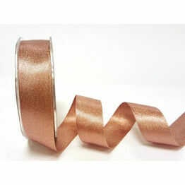 Ribbon Rose Gold Sparkle Satin 25mm