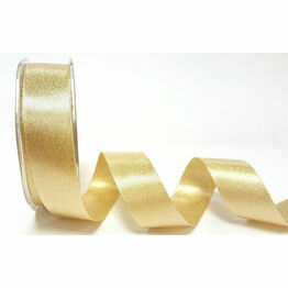 Ribbon Champagne Gold Sparkle Satin 25mm