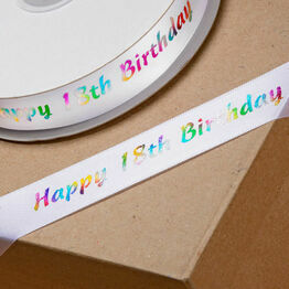 Ribbon Happy Birthday 18th 20mm