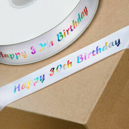 Ribbon Happy Birthday 30th 20mm