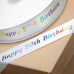 Ribbon Happy Birthday 80th 20mm