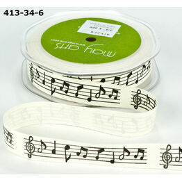 Ribbon Black Music Note Print 19mm